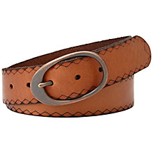Buy Fossil Laser Edge Centrebar Leather Belt, Tan Online at johnlewis.com