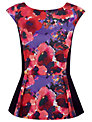 Alexon Floral Print Peplum Top, Purple