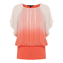 Buy Coast Calla Dip-Dye Top, Coral Online at johnlewis.com