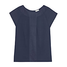 Buy Reiss Pleat Detail Top, Mid Blue Online at johnlewis.com