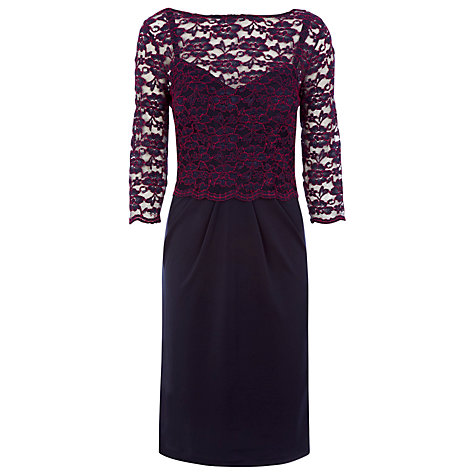 Buy Alexon Lace Top Jersey Dress, Blue Online at johnlewis.com