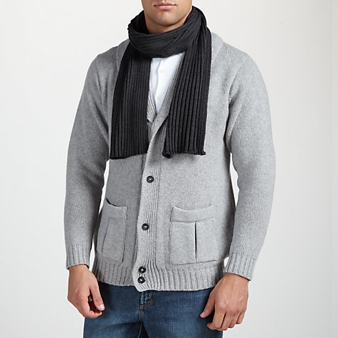 Buy John Smedley Petteril Scarf, Charcoal Online at johnlewis.com