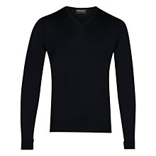 Buy John Smedley Bobby Low V-Neck Jumper, Midnight Online at johnlewis.com