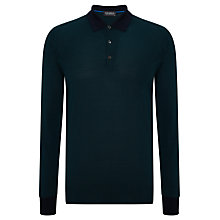 Buy John Smedley Windsford Merino Wool Polo Top, Forest Green/Midnight Online at johnlewis.com
