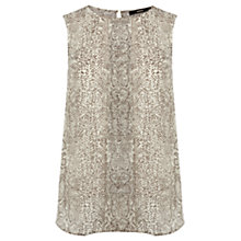 Buy Oasis Snakeskin Dipped Hem Top, Multi Online at johnlewis.com
