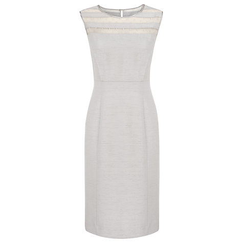 Buy Jacques Vert Mesh Panel Shift Dress, Silver Online at johnlewis.com