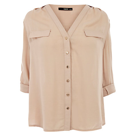 Buy Oasis Button Down Shirt, Off White Online at johnlewis.com