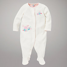 Buy John Lewis Baby Bird and Flower Sleepsuit, Cream Online at johnlewis.com