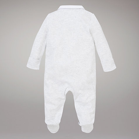 Buy John Lewis Baby Embroidered Elephant Sleepsuit, White Online at johnlewis.com