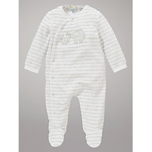 Buy John Lewis Baby Elephant Stripe Sleepsuit, White/Grey Online at johnlewis.com