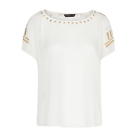 Buy Mango Applique Blouse, Neutral Online at johnlewis.com