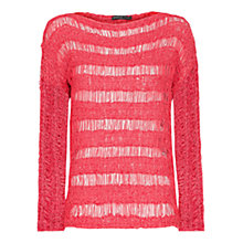 Buy Mango Open Knit Striped Jumper, Medium Red Online at johnlewis.com