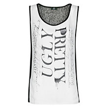 Buy Mango Typographic Print Vest Top, Black Online at johnlewis.com