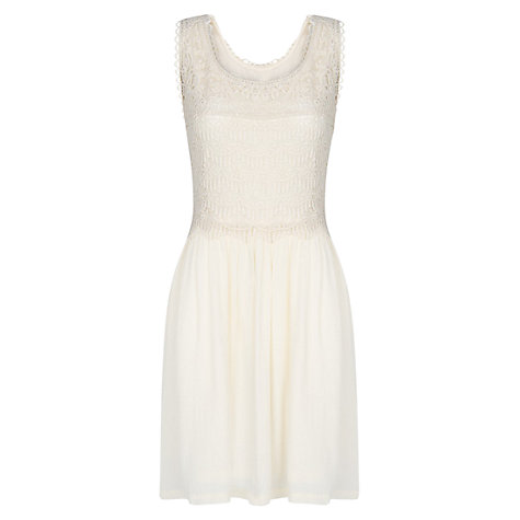 Buy Mango Guipure Dress, Natural White Online at johnlewis.com