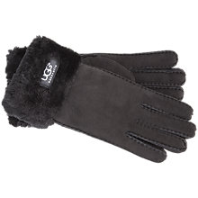 Buy UGG Classic Turn Cuff Sheepskin Suede Glove, Black Online at johnlewis.com