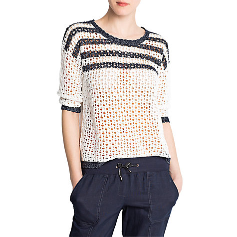 Buy Mango Stripe Cotton Jumper, Off White Online at johnlewis.com