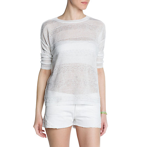 Buy Mango Striped Textured Jumper, White Online at johnlewis.com