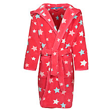 Buy John Lewis Girl Stars Hooded Robe, Dark Pink Online at johnlewis.com
