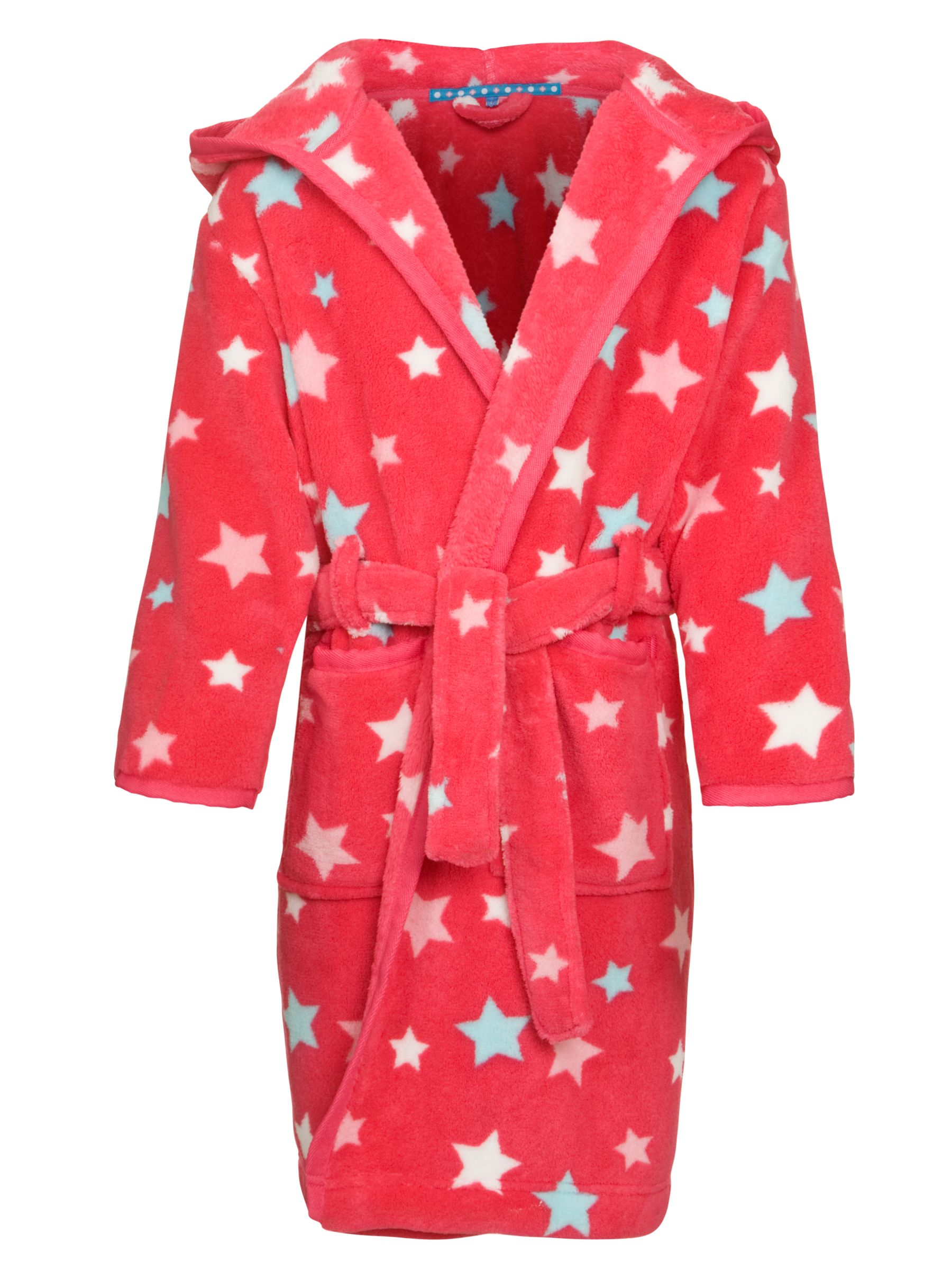 John Lewis Girl Stars Hooded Dressing Gown, Red