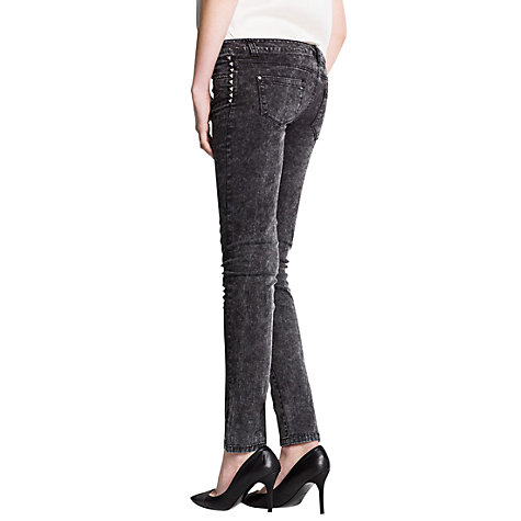 Buy Mango Slim Studded Jeans, Black Online at johnlewis.com