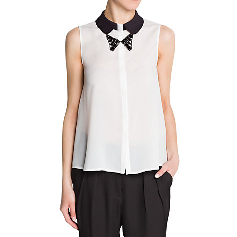 Buy Mango Bow Knot Collar Blouse, Natural White Online at johnlewis.com