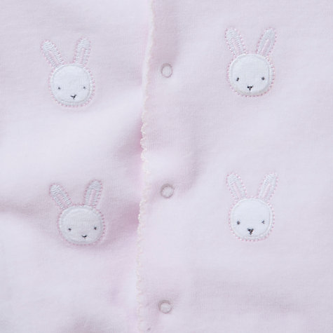 Buy John Lewis Baby Bunny Velour Sleepsuit, Pink Online at johnlewis.com