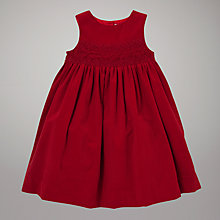 Buy John Lewis Smocked Corduroy Dress, Red Online at johnlewis.com