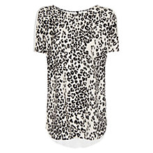 Buy Mango Leopard Print T-Shirt, Black Online at johnlewis.com