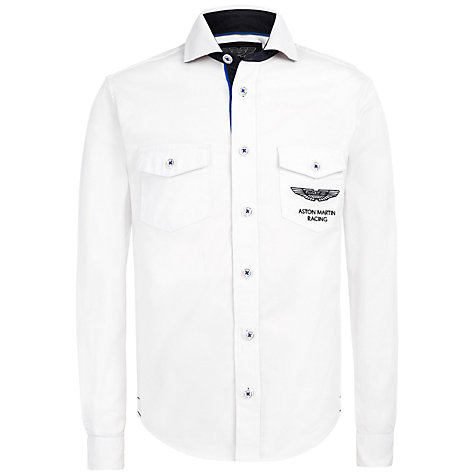 Buy Hackett London Boys' Aston Martin Racing Twill Shirt, White Online at johnlewis.com