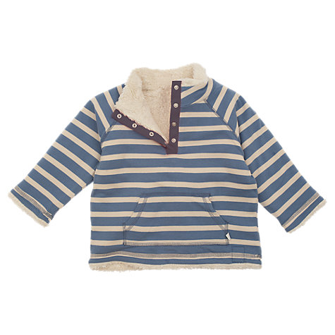 Buy Frugi Girls' Organic Cotton Reversible Stripe Fleece, Cream/Blue Online at johnlewis.com