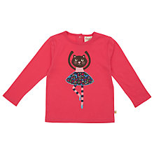 Buy Frugi Girls' Organic Cotton Ballerina Cat Top, Raspberry Online at johnlewis.com