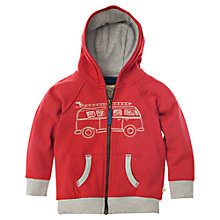 Buy Frugi Organic Cotton Camper Van Zip Through Hoodie, Red Online at johnlewis.com