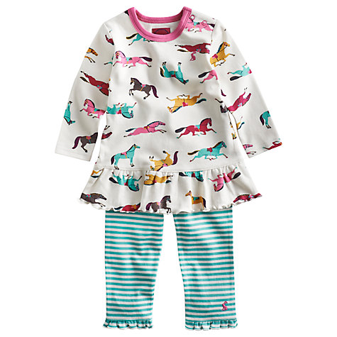 Buy Baby Joule Tasha Pony Print Smock and Leggings, Multi Online at johnlewis.com