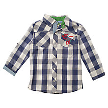 Buy Frugi Organic Cotton Long Sleeved Checked Shirt, Blue/White Online at johnlewis.com