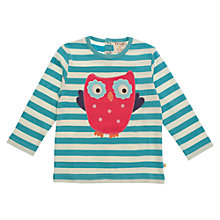 Buy Frugi Girls' Organic Cotton Striped Owl Top, Aqua Online at johnlewis.com