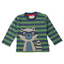 Buy Frugi Organic Cotton Raccoon T-Shirt, Green/Indigo Online at johnlewis.com