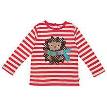 Buy Frugi Girls' Organic Cotton Hedgehog Stripe Top, Red/White Online at johnlewis.com