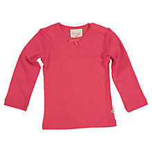 Buy Frugi Girls' Organic Cotton Pointelle Top, Raspberry Online at johnlewis.com