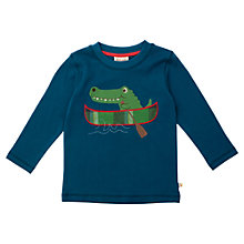 Buy Frugi Organic Cotton Canoe Crocodile Top, Blue Online at johnlewis.com