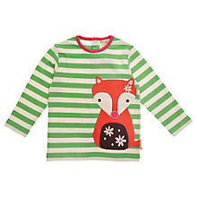 Buy Frugi Organic Cotton Woodland Fox Top, Green Online at johnlewis.com