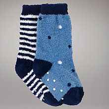 Buy John Lewis Fluffy Socks, Pack of 2, Blue Online at johnlewis.com