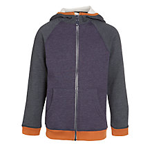 Buy Kin by John Lewis Boys' Zip Up Funnel Neck Hoodie, Navy/Orange Online at johnlewis.com