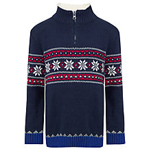 Buy John Lewis Boy Fair Isle Funnel Neck Jumper, Navy Online at johnlewis.com