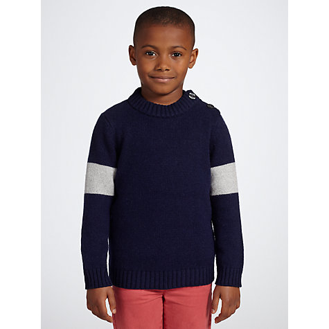 Buy Kin by John Lewis Boys' Button Neck Jumper, Navy/Grey Online at johnlewis.com