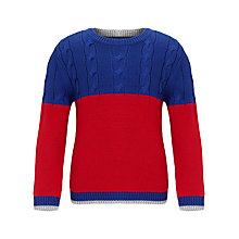 Buy John Lewis Boy Block Colour Jumper, Red/Blue Online at johnlewis.com