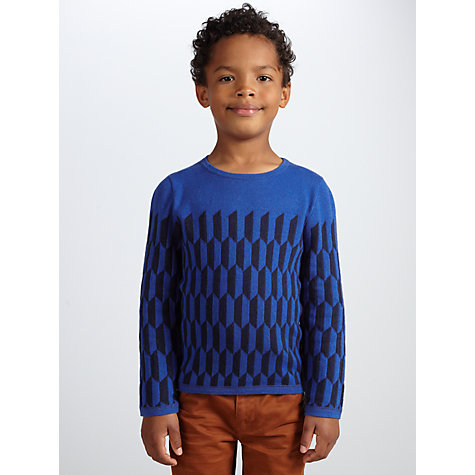 Buy John Lewis Boy Geometric Print Jumper, Blue Online at johnlewis.com