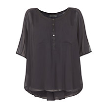 Buy Mint Velvet Waterfall Back Top, Purple Online at johnlewis.com