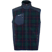 Buy Ralph Lauren RLX Golf Tech Shearling Gilet, Blackwatch Plaid Online at johnlewis.com