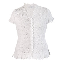 Buy Chesca Laser Cut Crush Blouse, White Online at johnlewis.com