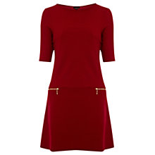 Buy Warehouse 60s Zip Dress, Bright Red Online at johnlewis.com